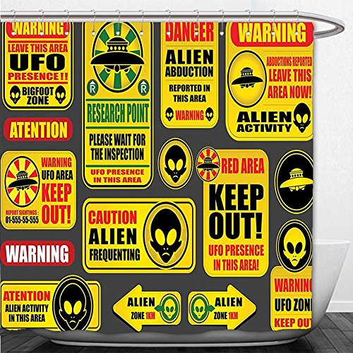 Beshowere Shower Curtain Outer Space Decor Warning Ufo Signs with Alien Faces Heads Galactic Paranormal Activity Design Yellow by Beshowere