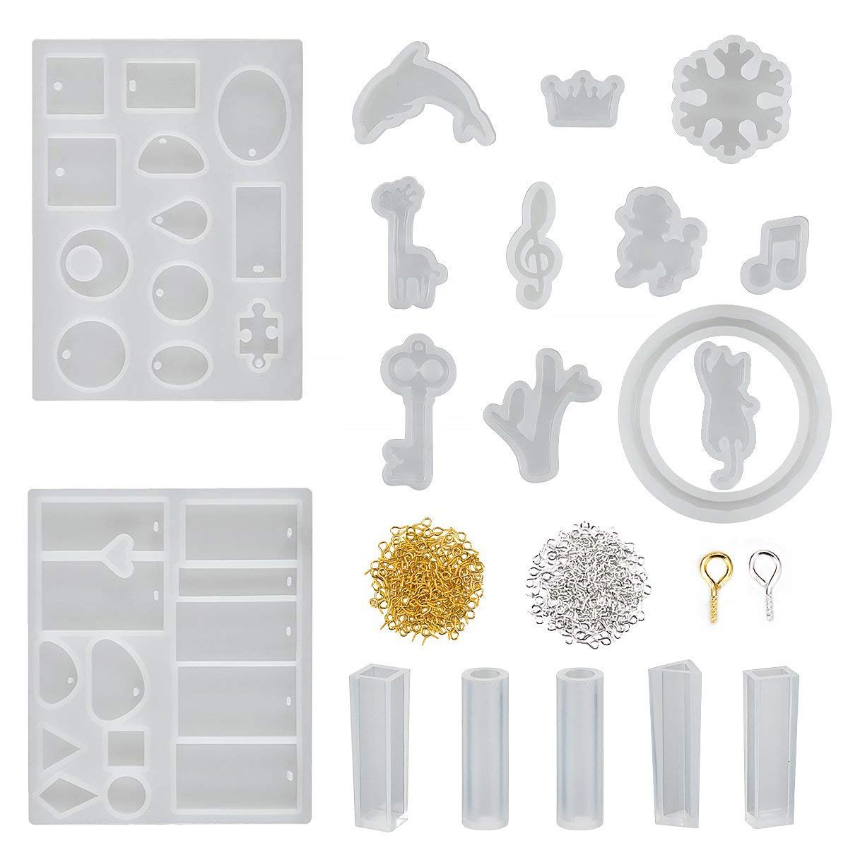 18 Pieces Jewelry Casting Molds Assorted Styles Mold Resin Casting Molds Silicone Resin Molds Set with 200 Pieces Screw Eye Pins for Pendant Jewelry Making DIY Homtable