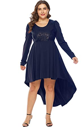 3c22278065 MERRYA Women s Plus Size Sequin Christmas Party Casual High-Low Tunic Maxi  Dress Size 14