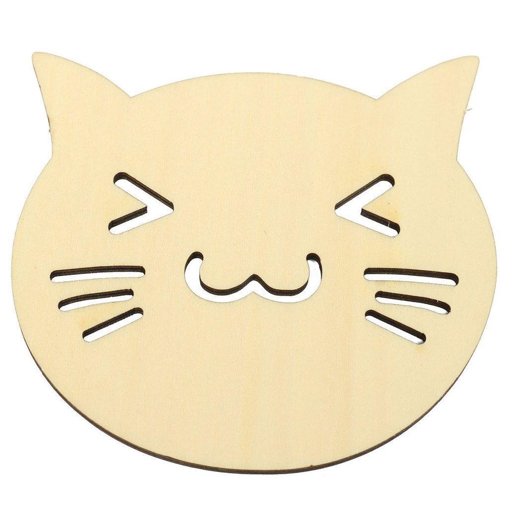 Philna12 Happy Smile Tê te de chat Vaisselle Set de table en bois Tasse sous-verres Tapis de Pad MRLAK12A