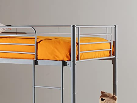 Etagenbett Mit Gitterstäben : Comforium etagenbett kinder aus metall farbe grau amazon