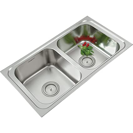 ANUPAM Stainless Steel 304 Grade Satin/Matt Finish Double Square Bowl Kitchen Sink (915 x 510 x 200 mm/36 x 20 x 8-inch)