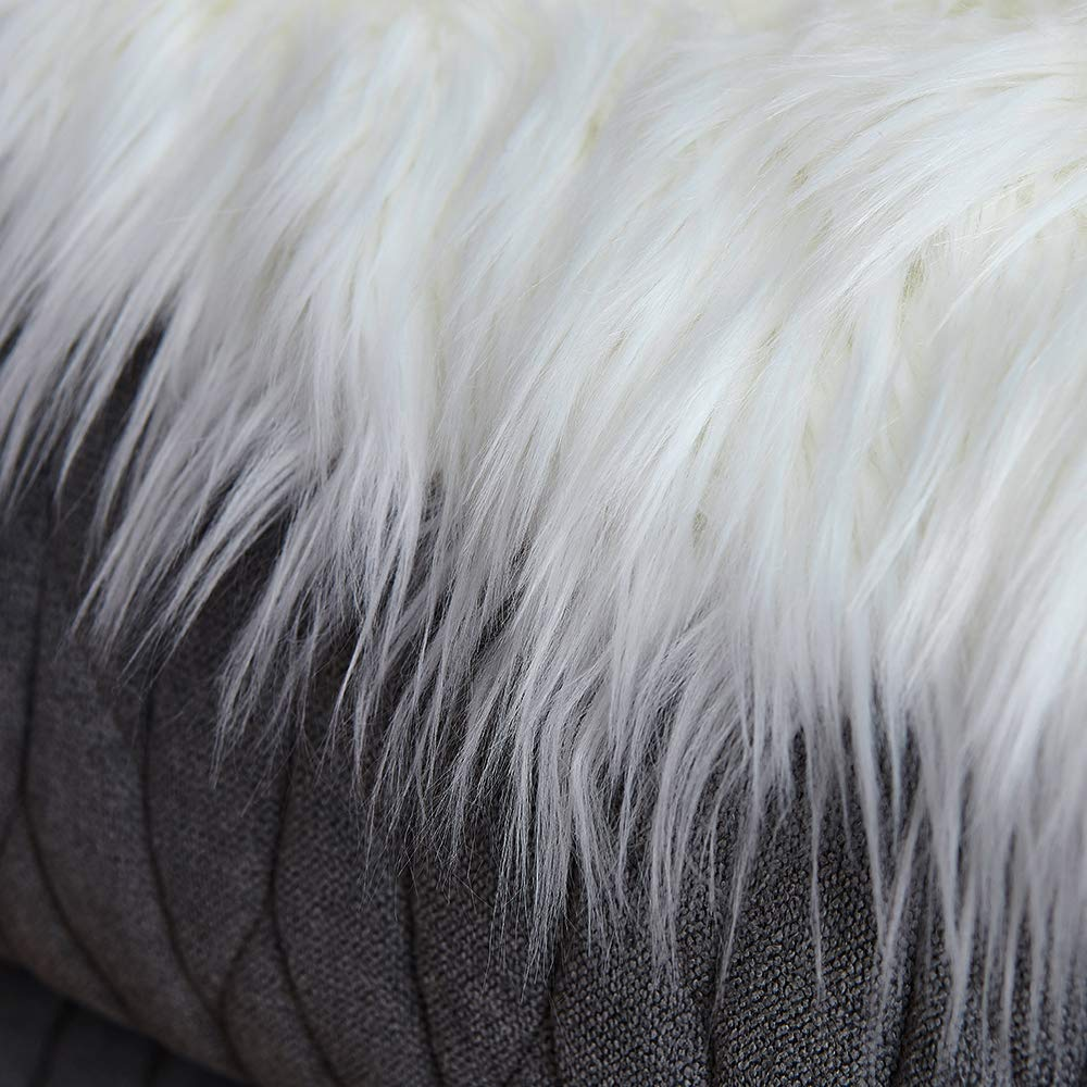 2 x 5, White LEEVAN Sheepskin Rug Faux Fur Rug Super Soft Fluffy Chair Cover Seat Cover Shaggy Floor Mat Carpet