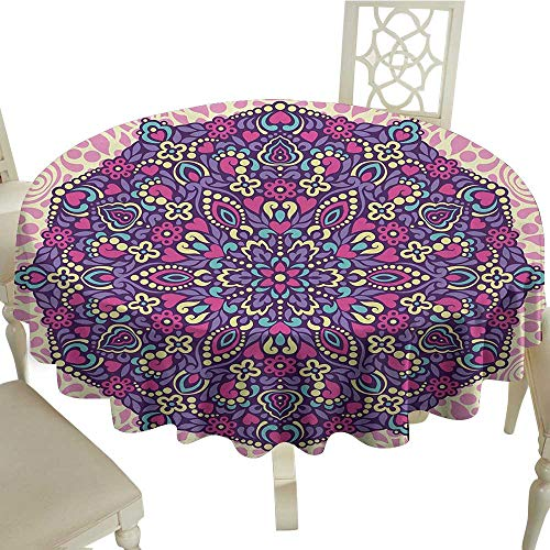 (White Round Tablecloth Purple Mandala,Abstract Floral Cosmos Icon Eastern Motif Petals Essence Theme,Pale Pink Magenta Cream D50,for Accent Table )