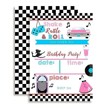 Amazon Com 50 S Sock Hop Birthday Party Invitations 20 5 X7 Fill