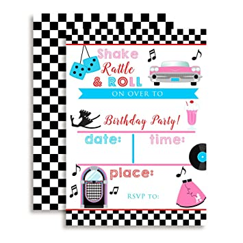 Amazoncom 50s Sock Hop Birthday Party Invitations Ten 5x7 Fill
