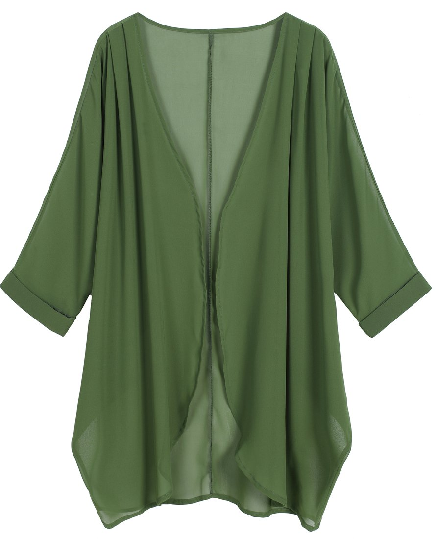 OLRAIN Women's Floral Print Sheer Chiffon Loose Kimono Cardigan Capes (X-Large, Deep Green)