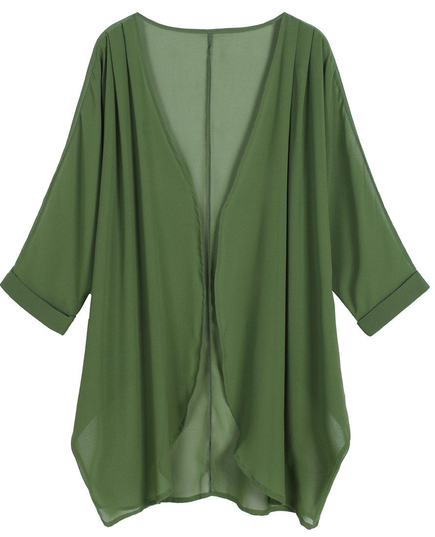 OLRAIN Women's Floral Print Sheer Chiffon Loose Kimono Cardigan Capes (X-Large, Deep Green) by OLRAIN