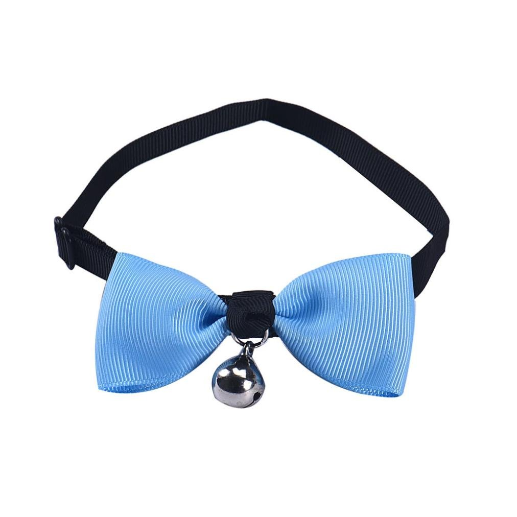 Voberry Pet Puppy Cat Dog Bow Tie Adjustable Bowtie Bell Fashion Accessories for Pet Dog Cat (Blue)