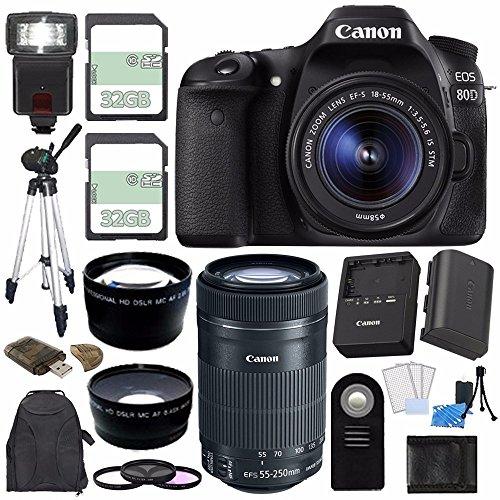 Canon 80D Camera w/18-55mm Lens + EF-S 55-250mm f/4-5.6 IS STM Lens + 32GB + 58mm 3 Pc Filter Set + 58mm Wide Angle Lens + 2x Telephoto Lens + Remote + Card Reader + Tripod + Flash + Backpack Bundle
