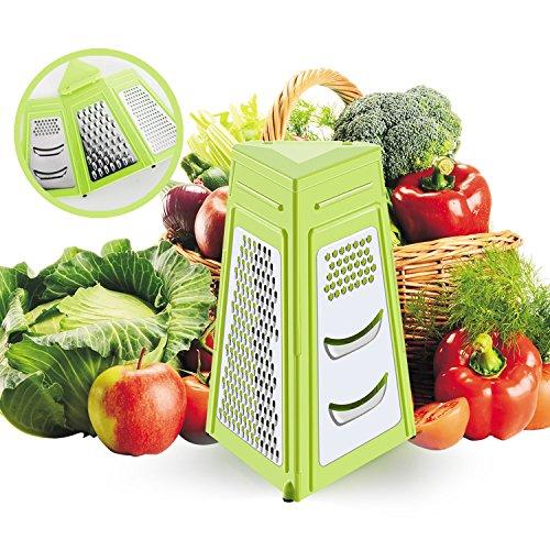 Easy to Clean and Collapsible Box Grater,3-Sided Stainless Steel+Plastic,Multi-Use Foldable Grater for Parmesan Cheese, Ginger,Garlic, Vegetables with a Cleaning Brush by (Folding Grater)