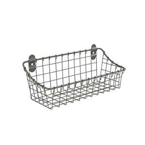 Spectrum Diversified Small Vintage Cabinet & Wall Mount Basket, Industrial Gray