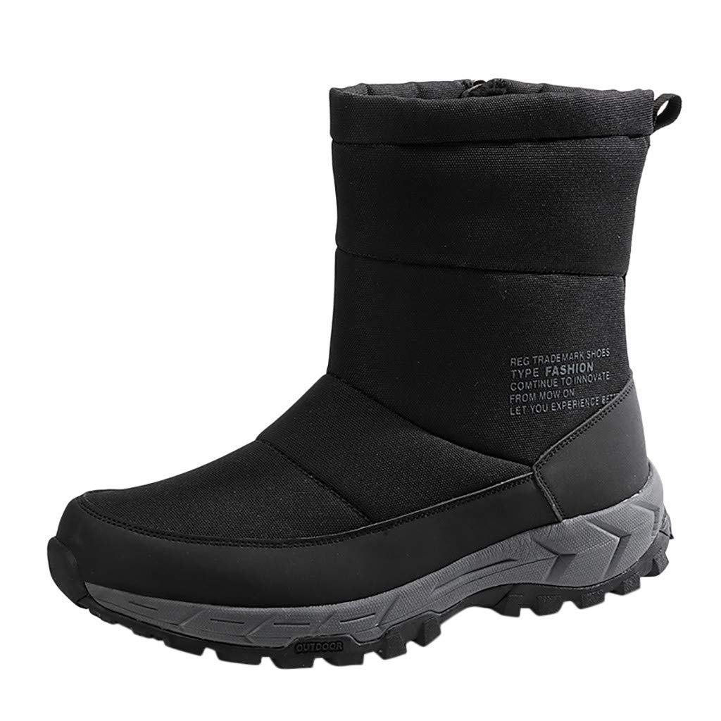 Fheaven Woman's Mid Calf Boots Zip High Up Warm Fur Water Resistant Snow Boots Black by Fheaven-shoes