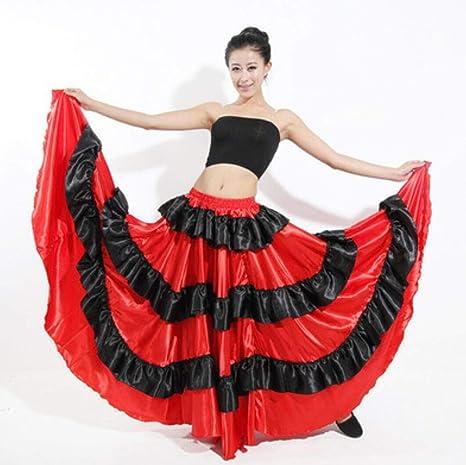 ZYLL Falda Flamenca Roja Negra Falda Taurina Roja Negra Negra para ...