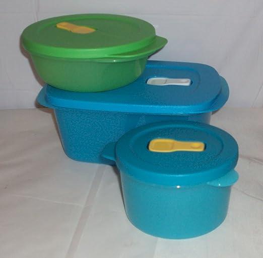 Tupperware Crystalwave Plus Microwave Bowls Set of 2 Rounds Blue Aqua New