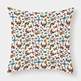 iPrint Satin Throw Pillow Cushion Cover,Mexican,Traditional Latin American Art Design with Natural Inspirations Flowers and Birds Decorative,Multicolor,Decorative Square Accent Pillow Case