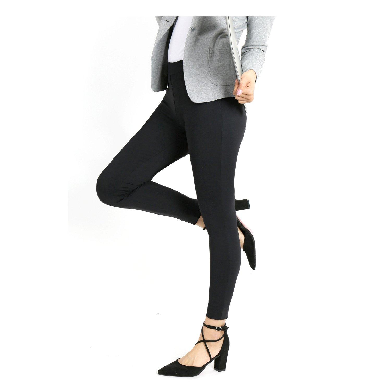 Bamans Yoga Dress Pants, High Waisted Black Workout Leggings For Women , Office Skinny Lined Leggings , Strechy, Medium
