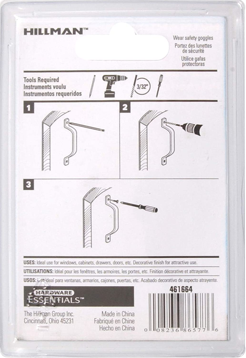The Hillman Group 851569 3-3//4 Utility Door Pull White 2 Pack