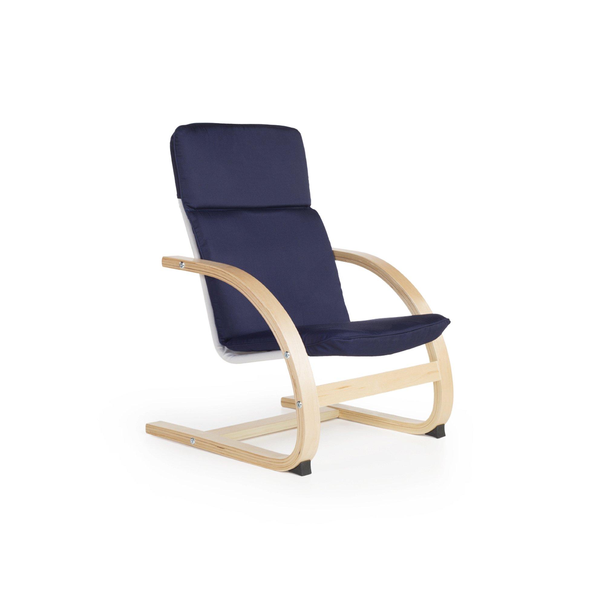 Guidecraft Nordic Rocker, Blue Cushioned Chair Kids Furniture