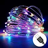 Excellenter LED String Lights ,33ft 100 LED Colorful Sliver Copper Wire Lights, USB Powered Waterprrof Fairy Lights for Bedroom,Party and Weddings Multi-color