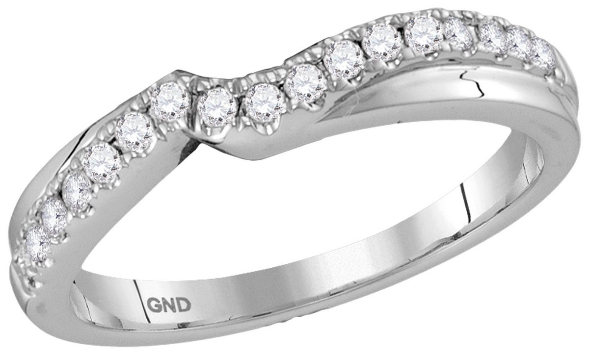 14K White Gold Diamond Jacket Enhancer Engagement Contour Band Ring Guard 1/4 CT (I1-I2 clarity; G-H color) by Jewels By Lux