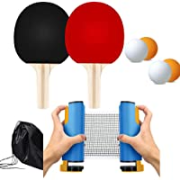 Retractable Ping Pong Net and Paddles, Portable Table Tennis Set 2 Paddle 4 Balls for Any Table Game Top Sports All in One