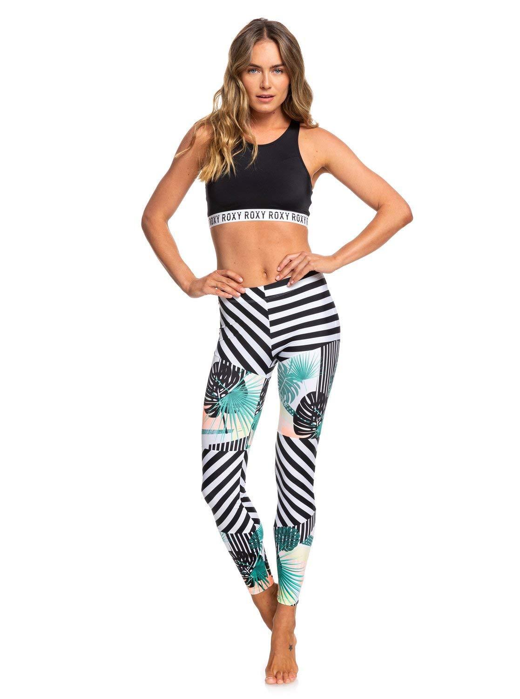 Roxy Women's Junior Pop Surf Swim Leggings Swimwear, Jet Black Crazy Victoria POPSURF, XS by Roxy