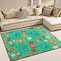 LORVIES Tiki Tribal Mask Hawaiian Elements Area Rug Carpet Non-Slip Floor Mat Doormats for Living Room Bedroom 63 x 48 inches