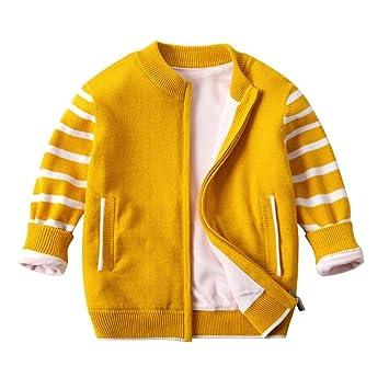 Weentop Chaqueta de Punto para niños, algodón suéter, algodón orgánico con Cremallera (Color : Amarillo, tamaño : 110): Amazon.es: Hogar