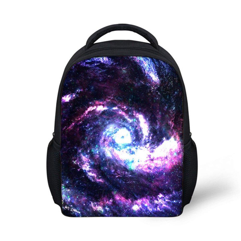 Hoijay Preschool Backpack, Little Kid Backpacks for Boys and Girls Purple Galaxy Stars Vortex