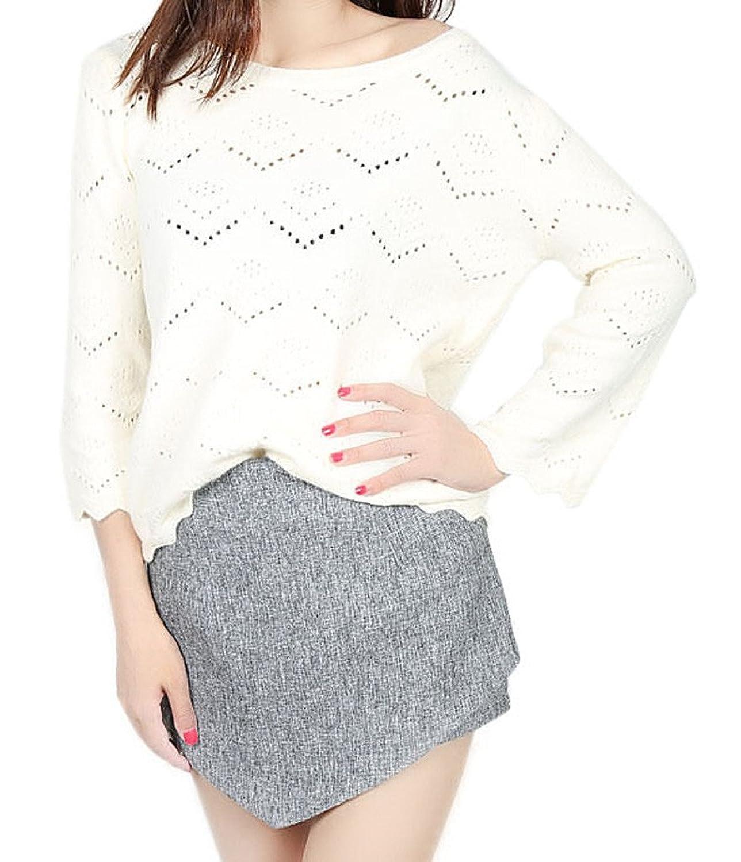 Woo2u Women's Mandarin Sleeve Loose Pullover Hollow Knit Sweater