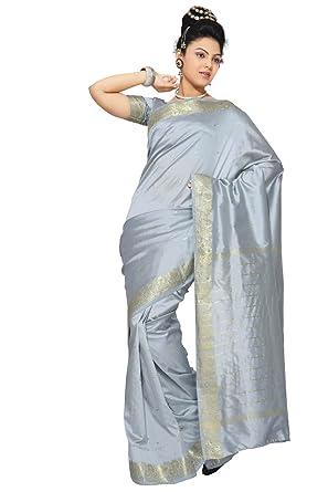 amazon com indian selections gray art silk saree sari fabric