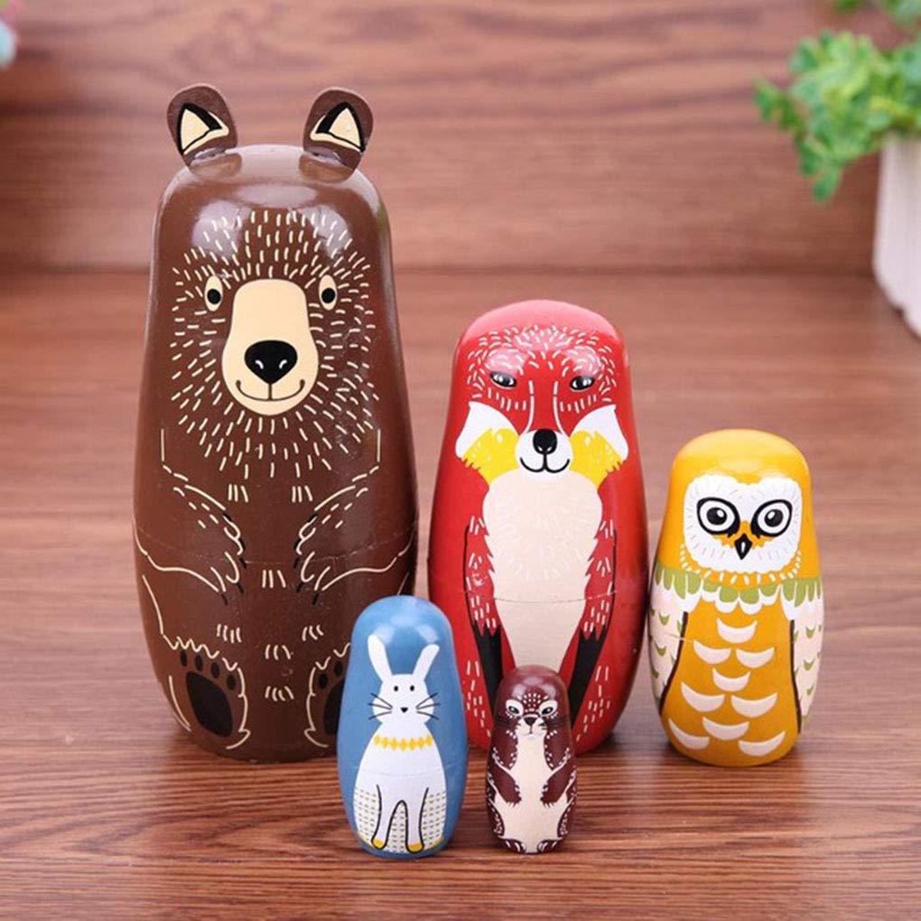 Set Poup/ées en Bois Mignon des Animaux Nesting Stacking Matriochka Cartoon Animal Russe Art Ethnique Bois Poup/ées Hotaluyt 5pcs