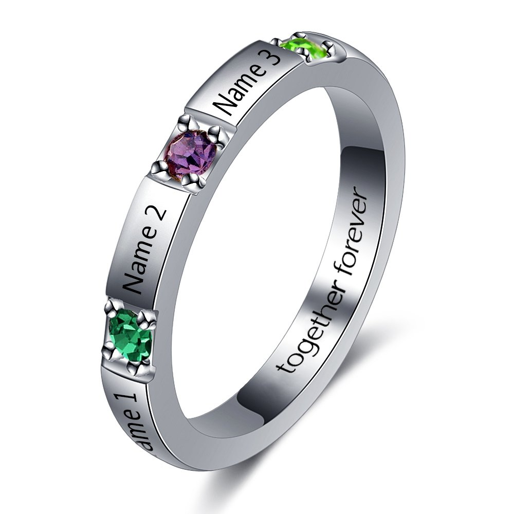 Personalized Stackable Name Ring DIY 3 Simulated Birthstone Mother Ring Engraved Family Jewelry Gifts (6)