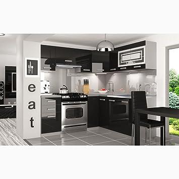 Justyou lidja l pro led l küche küchenzeile küchenblock 190x170 cm farbe schwarz hochglanz