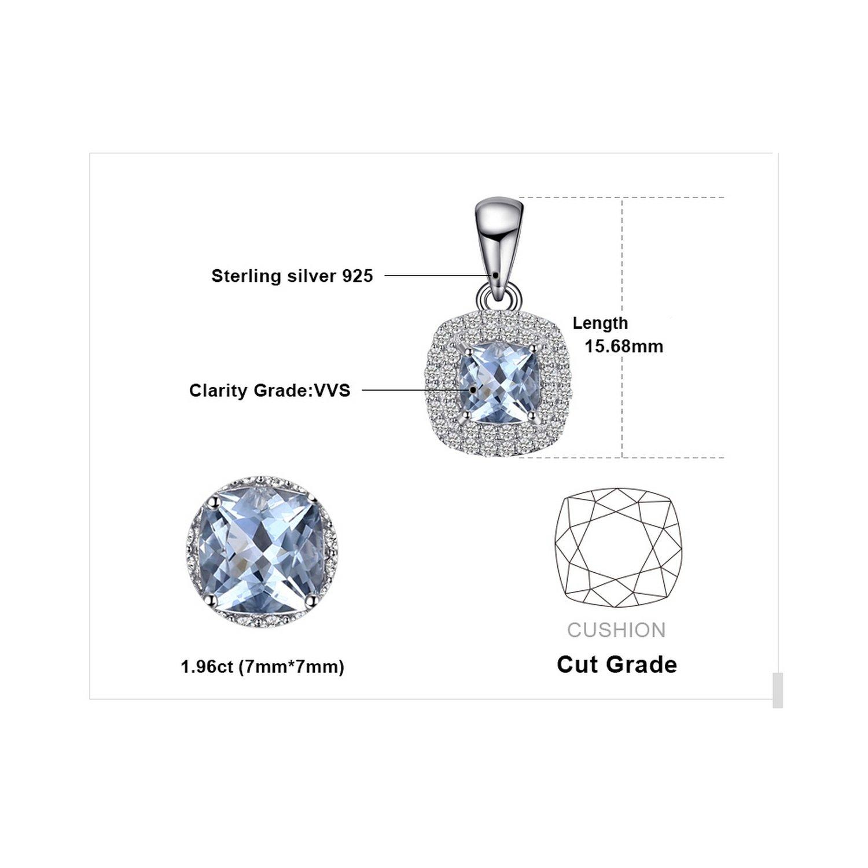 CS-DB Pendants Cushion Cut 0.8ct Aquamarine Silver Necklaces