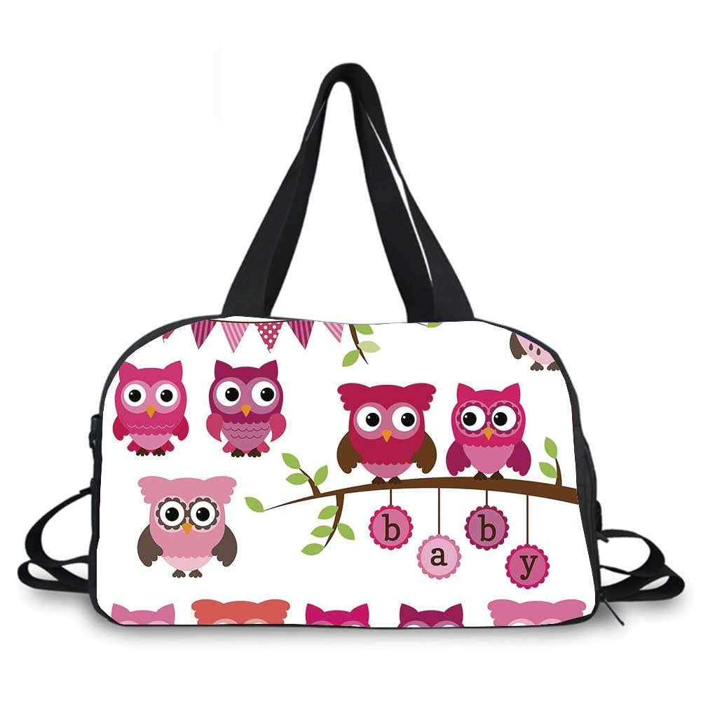 Nursery Personality Travel Bag,Girl Baby Shower Themed Owls and Branches Adorable Cartoon Animal Characters for Travel Airport,One_Size