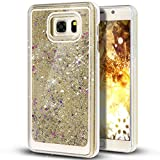 Liquid Case for Samsung Galaxy S7,Creative Design Floating Bling Glitter Sparkle Diamond Hexagon Stars Hard Plastic Case for Samsung Galaxy S7(Beige)