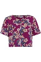 Neon Rose - Purple Floral Print Oversize Top