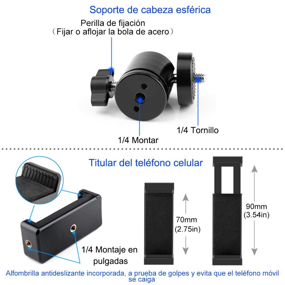 Huawei C/ámara Digital GoPro Samsung Tr/ípode Flexible para C/ámara y Movil de Altura 1.6M Adecuado para iPhone