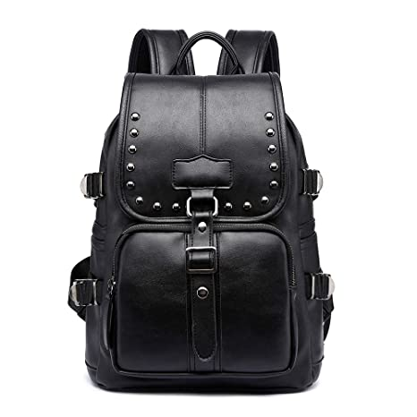 Amazon.com | Women PU Leather backpacks for Teenage Female Schoolbag bookbags Shoulder bag mochila knapsack for girl student backpacks black!