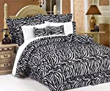 15Pcs Full Zebra Comforter Bed in a Bag w/ Curtain Set