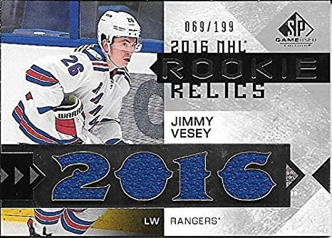 Image Unavailable. Image not available for. Color  16 17 SPGU Rookie Relic  Blends  JV Jimmy Vesey Jersey Insert Card ... a4957e487