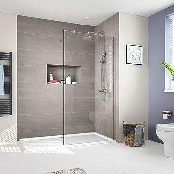 8mm Walk in Duschwand Duschtrennwand 120x200cm Walk-In Dusche Duschkabine  Duschabtrennung mit Nano-Beschichtung, Transparent glas