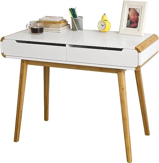 SoBuy® Mesa de Escritorio, Mesa de Ordenador con 2 cajones, FWT19 ...