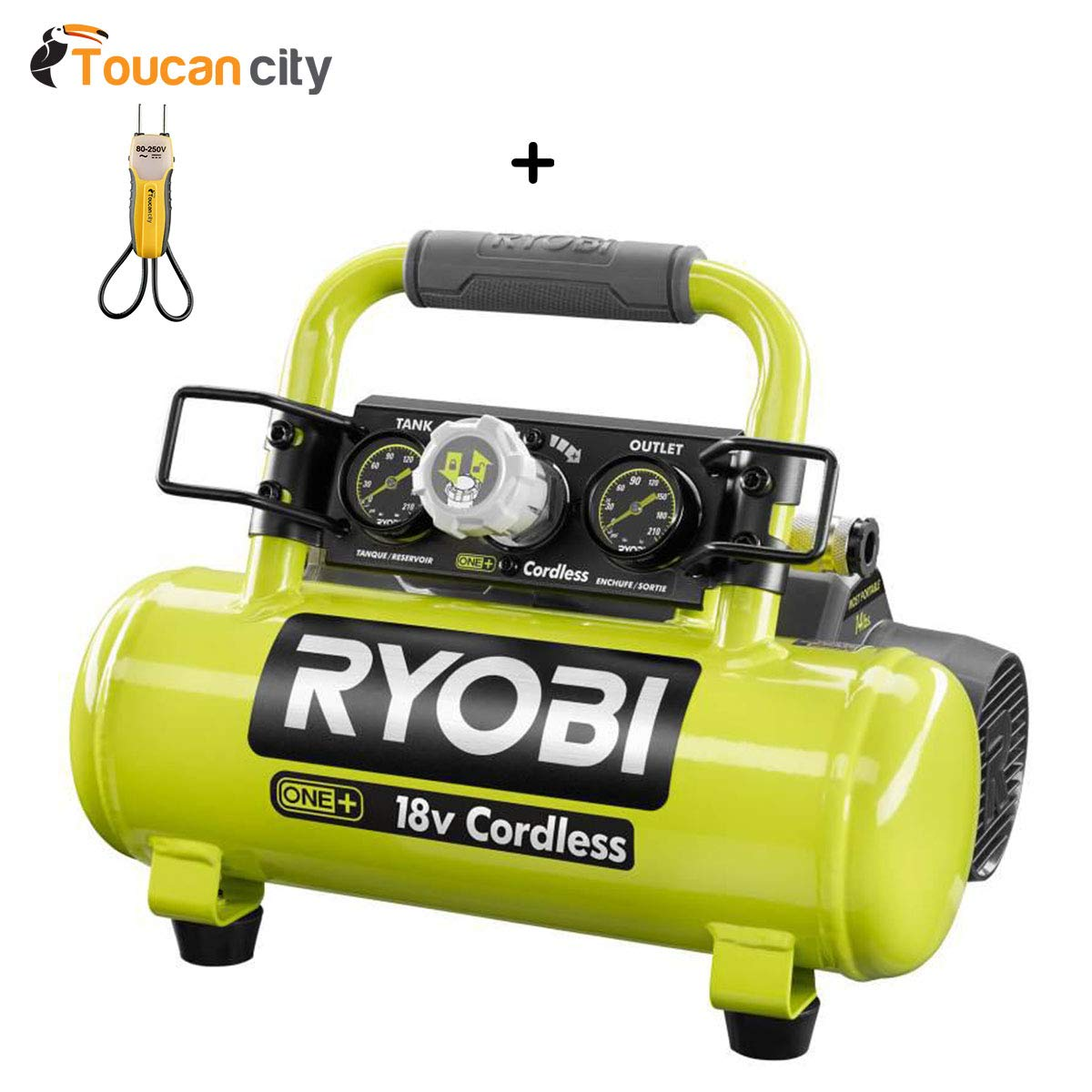 Toucan City Voltage Tester and Ryobi 18-Volt ONE+ Cordless 1 Gal. Portable Air Compressor (Tool Only) P739 Toucan City + Ryobi