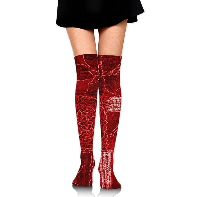d8042eb64aaad Amazon.com: Red Flowers Art Pattern Leisure Crew Top Socks,Tube ...