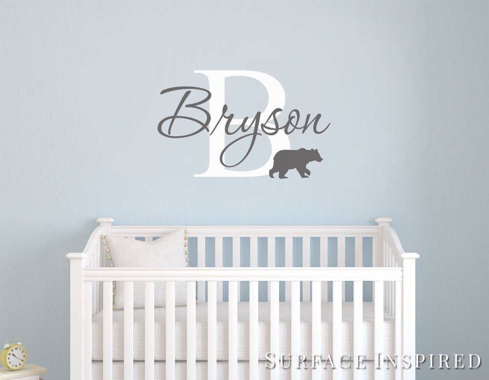 Name Wall Stickers Wall Decal Removable Personalized Name Wall Decal With Bear Wall Decals Surface Inspired 1037