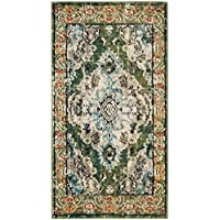 Safavieh Monaco Collection MNC243F Vintage Oriental Forest Green and Light Blue Distressed Runner (22 x 6)