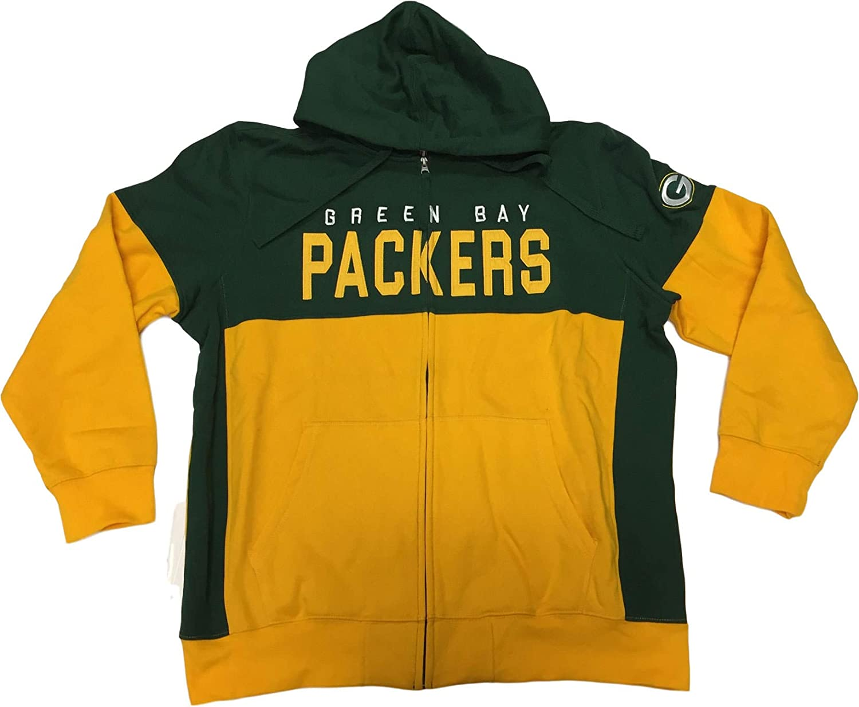 G-III Sports Green Bay Packers Mens Full Zip Drawstring Hoodie